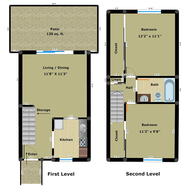 2 bedroom 1 bathroom floor plan of Chippenham Townhomes with patio
